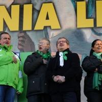 Foto Nicoloro G. 22/01/2012 Milano Manifestazione con corteo della Lega Nord contro il governo Monti. nella foto Roberto Calderoli – Umberto Bossi – Roberto Maroni – Rosy Mauro