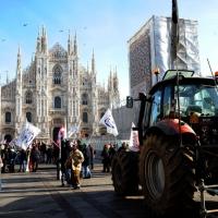 Foto Nicoloro G. 22/01/2012 Milano Manifestazione con corteo della Lega Nord contro il governo Monti. nella foto Trattori in Piazza del Duomo