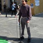 Foto Nicoloro G.   02/06/2020   Faenza ( Ra)   Nella giornata della Festa della Repubblica i partiti dell' opposizione promuovono un flash mob di protesta contro il governo ' Per l' Italia che vuole ripartire in sicurezza '. nella foto il portavoce di Fratelli d' Italia Alberto Ferrero durante il suo intervento.