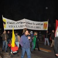 Foto Nicoloro G. 04/03/2011 Milano Manifestazione in piazza Loreto con corteo di un centinaio di immigrati libici contro il regime di Gheddafi a cui hanno partecipato anche immigrati tunisini ed egiziani. nella foto Manifestanti con un grande striscione