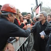 Foto Nicoloro G.  16/10/2010 Roma  Manifestazione nazionale Fiom-CGIL con cortei e comizio finale in piazza San Giovanni. nella foto Nichi Vendola e alcuni manifestanti