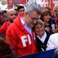 """Foto Nicoloro G. 12/10/2013 Roma Manifestazione nazionale in difesa della Costituzione, """" La via maestra """", organizzata dalla FIOM. nella foto Maurizio Landini"""