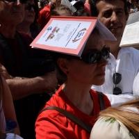 """Foto Nicoloro G. 02/06/2013 Bologna Manifestazione in difesa della Costituzione organizzata da """" Libertà e Giustizia """" dal titolo """" Non è cosa vostra """". nella foto Una manifestante"""