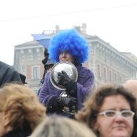 """Foto Nicoloro G. 13/02/2011 Milano Manifestazione delle donne """" Se non ora quando ? """" per la dignita' del soggetto donna e contro Berlusconi. nella foto Manifestante folkloristico"""