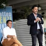Foto Nicoloro G.   27/09/2021   Ravenna   Il leader di Italia Viva e' in citta' per presentare il suo libro e sostenere la lista Ravenna in Campo, che a lui fa riferimento e che appoggia l' elezione a sindaco del candidato del Centrosinistra. nella foto Matteo Renzi e Roberto Fagnani, capolista alle amministrative per la lista Ravenna in Campo.