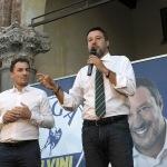 Foto Nicoloro G.   24/09/2021   Ravenna   Intervento del leader della Lega nella campagna elettorale per le amministrative del 3 e 4 ottobre 2021. nella foto il deputato e segretario della Lega Romagna Jacopo Morrone, a sinistra, e Matteo Salvini.