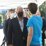 Foto Nicoloro G.   21/08/2020   Rimini    Quarta giornata del Meeting di CL 2020, che in questa edizione ha per titolo ' Privi di meraviglia, restiamo sordi al sublime '. nella foto il vicepresidente di Forza Italia Antonio Tajani al test col termoscanner.