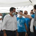 Foto Nicoloro G.   21/08/2020   Rimini    Quarta giornata del Meeting di CL 2020, che in questa edizione ha per titolo ' Privi di meraviglia, restiamo sordi al sublime '. nella foto il segretario Federale Lega Matteo Salvini fa il test col termoscanner.
