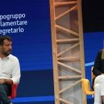 Foto Nicoloro G.   21/08/2020   Rimini    Quarta giornata del Meeting di CL 2020, che in questa edizione ha per titolo ' Privi di meraviglia, restiamo sordi al sublime '. nella foto il segretario Federale Lega Matteo Salvini e la capogruppo di Italia Viva alla Camera Maria Elena Boschi.