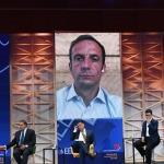 Foto Nicoloro G.   22/08/2020   Rimini    Quinta giornata del Meeting di CL 2020, che in questa edizione ha per titolo ' Privi di meraviglia, restiamo sordi al sublime '. nella foto in collegamento video Massimiliano Fedriga, governatore del Friuli Venezia Giulia.