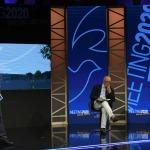 Foto Nicoloro G.   19/08/2020   Rimini  Seconda giornata del Meeting di CL 2020, che in questa edizione ha per titolo ' Privi di meraviglia, restiamo sordi al sublime '. nella foto da sinistra Michele Brambilla, direttore del Quotidiano Nazionale, Gian Carlo Blangiardo, presidente ISTAT, e Marco Ceresa, a.d. Randstad Italia.