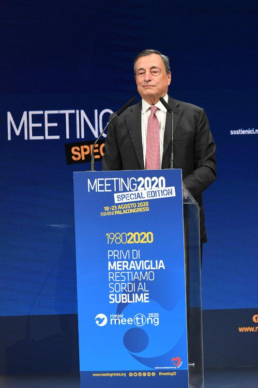Foto Nicoloro G.   18/08/2020   Rimini  Giornata di apertura del Meeting di CL 2020, che in questa edizione ha per titolo ' Privi di meraviglia, restiamo sordi al sublime '. nella foto l' ex presidente della BCE Mario Draghi.