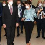 Foto Nicoloro G.   18/08/2020   Rimini  Giornata di apertura del Meeting di CL 2020, che in questa edizione ha per titolo ' Privi di meraviglia, restiamo sordi al sublime '. nella foto  l' ex presidente BCE Mario Draghi e la responsabile del Meeting Nicoletta Rastelli.
