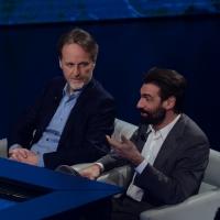 """Foto Nicoloro G.   16/03/2014  Milano   Trasmissione televisiva su Rai 3  """"Che tempo che fa"""". nella foto il regista Francesco Bruni, a sinistra, e l' attore Fabrizio Gifuni."""
