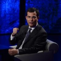 """Foto Nicoloro G.  16/03/2014  Milano   Trasmissione televisiva su Rai 3  """"Che tempo che fa"""". nella foto il giornalista Giovanni Floris."""