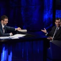 """Foto Nicoloro G.   16/03/2014  Milano   Trasmissione televisiva su Rai 3  """"Che tempo che fa"""". nella foto Fabio Fazio e il giornalista Giovanni Floris."""