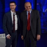 """Foto Nicoloro G.   16/03/2014  Milano   Trasmissione televisiva su Rai 3  """"Che tempo che fa"""". nella foto Fabio Fazio e Pier Luigi Bersani."""