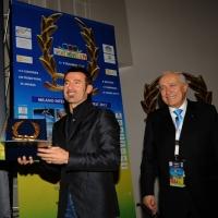"""Foto Nicoloro G. 05/12/2012 Milano Trentesima edizione del """" Festival Ficts """" , Federazione Internazionale Cinema e Televisione Sportiva. nella foto Max Biaggi – Franco Ascani"""