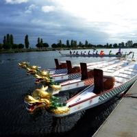 Foto Nicoloro G.  02/09/2014   Ravenna   Nona edizione dell' IDBF,  Campionati Mondiali per club di di Dragon Boat. Partecipano 27 nazioni, 5300 atleti, 129 club che gareggeranno nelle tre categorie Open maschili, femminili e misti. nella foto alcune imbarcazioni di gara.
