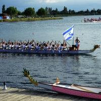 Foto Nicoloro G.  02/09/2014   Ravenna   Nona edizione dell' IDBF,  Campionati Mondiali per club di di Dragon Boat. Partecipano 27 nazioni, 5300 atleti, 129 club che gareggeranno nelle tre categorie Open maschili, femminili e misti. nella foto l' equipaggio di Israele.