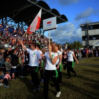 Foto Nicoloro G.  02/09/2014   Ravenna   Nona edizione dell' IDBF,  Campionati Mondiali per club di di Dragon Boat. Partecipano 27 nazioni, 5300 atleti, 129 club che gareggeranno nelle tre categorie Open maschili, femminili e misti. nella foto la delegazione di Polonia.