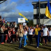 Foto Nicoloro G.  02/09/2014   Ravenna   Nona edizione dell' IDBF,  Campionati Mondiali per club di di Dragon Boat. Partecipano 27 nazioni, 5300 atleti, 129 club che gareggeranno nelle tre categorie Open maschili, femminili e misti. nella foto molto appaludita la delegazione dell' Ucraina.