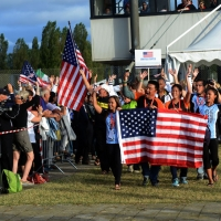 Foto Nicoloro G.  02/09/2014   Ravenna   Nona edizione dell' IDBF,  Campionati Mondiali per club di di Dragon Boat. Partecipano 27 nazioni, 5300 atleti, 129 club che gareggeranno nelle tre categorie Open maschili, femminili e misti. nella foto la delegazione degli Stati Uniti.