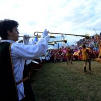 Foto Nicoloro G.  02/09/2014   Ravenna   Nona edizione dell' IDBF,  Campionati Mondiali per club di di Dragon Boat. Partecipano 27 nazioni, 5300 atleti, 129 club che gareggeranno nelle tre categorie Open maschili, femminili e misti. nella foto gli sbandieratori e la banda da Faenza.