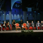 Foto Nicoloro G.   23/11/2019   Ravenna    48° edizione del ' Premio Guidarello per il giornalismo d' autore ' organizzato da Confindustria Romagna. nella foto il palco con tutti i premiati.