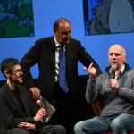 Foto Nicoloro G.   23/11/2019   Ravenna    48° edizione del ' Premio Guidarello per il giornalismo d' autore ' organizzato da Confindustria Romagna. nella foto Bruno Vespa tra i premiati Giampaolo Soldati, a sinistra, e Roberto Gagnor.