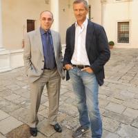 """Foto Nicoloro G.   04/09/2010  Venezia  Quarantottesima edizione del """" Premio Campiello Letteratura """". nella foto Giuseppe Tornatore – Gianrico Carofiglio"""