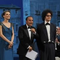 """Foto Nicoloro G.   04/09/2010  Venezia  Quarantottesima edizione del """" Premio Campiello Letteratura """". nella foto Andrea Osvart – Bruno Vespa  – Simone Cristicchi"""