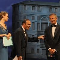 """Foto Nicoloro G.   04/09/2010  Venezia  Quarantottesima edizione del """" Premio Campiello Letteratura """". nella foto Andrea Osvart – Bruno Vespa – Gianrico Carofiglio"""