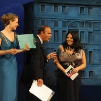 """Foto Nicoloro G.   04/09/2010  Venezia  Quarantottesima edizione del """" Premio Campiello Letteratura """". nella foto Andrea Osvart – Bruno Vespa – Michela Murgia"""
