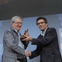 """Foto Nicoloro G. 19/06/2010  Riccione (Rimini)  Sedicesima edizione del """"Premio giornalistico televisivo Ilaria Alpi"""". nella foto Demetrio Volcic – Roberto Natale"""