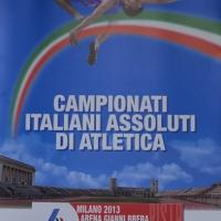 Foto Nicoloro G. 27/06/2013 Milano Presentazione dei Campionati Italiani Assoluti di Atletica che si terranno all' Arena Civica di Milano il 26-27-28 Luglio 2013. nella foto Il manifesto dell'evento