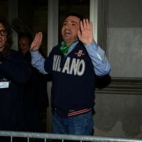 Foto Nicoloro G.  07/12/2014    Milano    Tradizionale serata inaugurale della stagione lirica del Teatro alla Scala. nella foto Dario Ballantini nei panni di Matteo Salvini viene fortemente contestato dai manifestanti che non si erano accorti in un primo momento del travestimento.