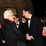 Foto Nicoloro G.   07/12/2019   Milano    Serata inaugurale della stagione 2019-2020 del Teatro alla Scala. nella foto il sindaco di Milano Beppe Sala riceve il presidente Sergio Mattarella al suo arrivo al Teatro.