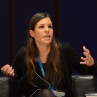 """Foto Nicoloro G. 15/11/2013 Milano Quinta edizione di """" Science for Peace """" due giorni di dibattiti dedicati agli scienziati impegnati per la Pace. nella foto Daphne Halikiopoulou"""