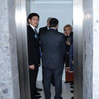 """Foto Nicoloro G.  16/11/2013  Milano   Quinta edizione di """" Science for Peace """" due giorni di dibattiti dedicati agli scienziati impegnati per la Pace. nella foto il ministro Emma Bonino scortata in ascensore."""