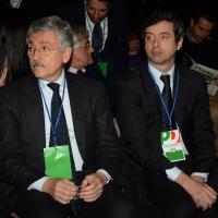 Foto Nicoloro G. 15/12/2013 Milano Prima Assemblea Nazionale del PD dopo le elezioni di Matteo Renzi a segretario. nella foto Massimo D' Alema – Andrea Orlando