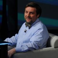 """Foto Nicoloro G. 09/12/2012 Milano Trasmissione televisiva su Rai3 """" Che tempo che fa """" condotta da Fabio Fazio. nella foto Luca Mercalli"""