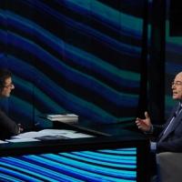 """Foto Nicoloro G. 09/12/2012 Milano Trasmissione televisiva su Rai3 """" Che tempo che fa """" condotta da Fabio Fazio. nella foto Fabio Fazio – Aldo Cazzullo"""