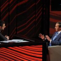 """Foto Nicoloro G. 09/12/2012 Milano Trasmissione televisiva su Rai3 """" Che tempo che fa """" condotta da Fabio Fazio. nella foto Fabio Fazio – Gianfranco Fini"""