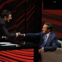 """Foto Nicoloro G. 09/12/2012 Milano Trasmissione televisiva su Rai3 """" Che tempo che fa """" condotta da Fabio Fazio. nella foto Gianfranco Fini"""
