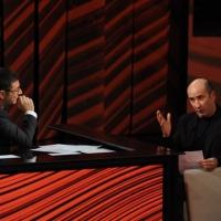 """Foto Nicoloro G. 09/12/2012 Milano Trasmissione televisiva su Rai3 """" Che tempo che fa """" condotta da Fabio Fazio. nella foto Fabio Fazio – Antonio Albanese"""