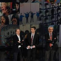 """Foto Nicoloro G. 10/12/2012 Milano Trasmissione televisiva su Rai3 """" Che tempo che fa """" condotta da Fabio Fazio. nella foto Ernesto Assante – Fabio Fazio – Gino Castaldo"""