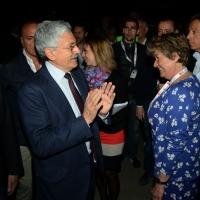 Foto Nicoloro G.  06/05/2014  Rimini   Si è aperto ufficialmente il 17° Congresso della CGIL. nella foto il segretario generale Susanna Camusso e Massimo D'Alema.
