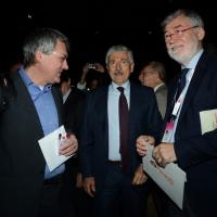 Foto Nicoloro G.  06/05/2014  Rimini   Si è aperto ufficialmente il 17° Congresso della CGIL. nella foto al centro Massimo D'Alema tra Maurizio landini, a sinistra, e Sergio Cofferati.