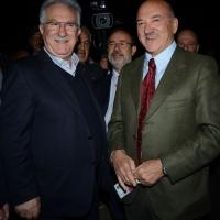Foto Nicoloro G.  06/05/2014  Rimini   Si è aperto ufficialmente il 17° Congresso della CGIL. nella foto il segretario generale CISL Raffaele Bonanni, a sinistra, e  Luigi Angeletti segretario generale UIL.